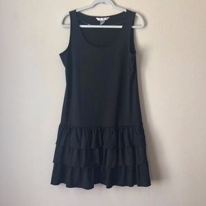 Peter Nygard Black Ruffle Tank Shift Dress M